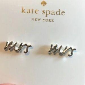 Say Yes Mrs Kate Spade earrings silver